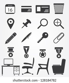 Simple web icons set in vector: office