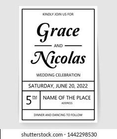 Simple wedding simple elegant template vector
