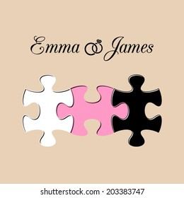 Simple wedding invitation with three joined puzzle pieces