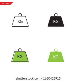 Simple weight kilogram icon on white background 4 types such as outline, black, color, outline and color. Vector illustration.