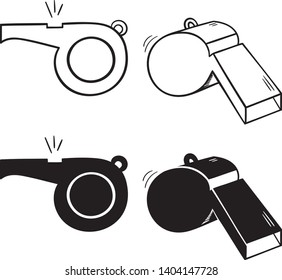 Simple Whistle set. Outline whistle icons