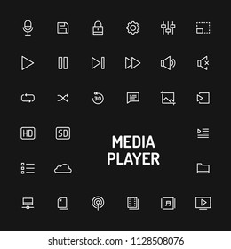 Simple white line button isolated over black background for media player app. Vector signs and symbols collections for website and design app template.