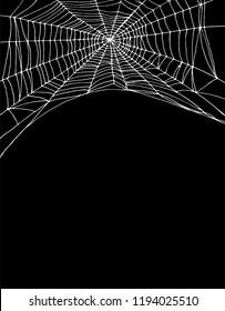 Simple White Spider Web Vector Illustration. Black Background. Lovely Halloween Layout. Irregular Cobweb Shape.