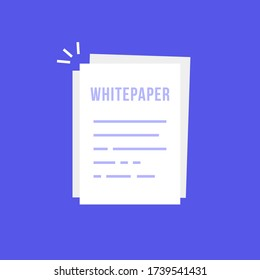 simple whitepaper or document icon. cartoon style trend invest ico sheet doc logotype graphic design element isolated on white background. concept of initial offering or smart contract symbol