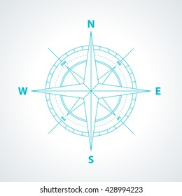 Simple wind rose isolated on white background. Modern thin line compass icon illustration.