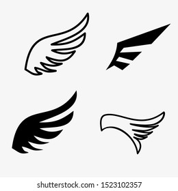 Simple wings silhouettes vector art