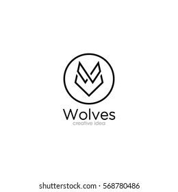 Simple Wolf Creative Concept Logo Design Template