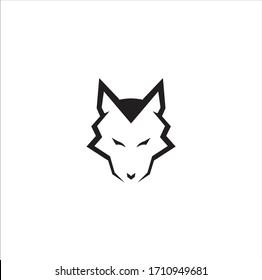 Simple Wolf Head Vector line