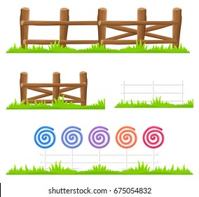 Simple wooden fence with green grass and fence made of colorful lollipops and canes isolated on white background. Cartoon rustic and fancy hedges of logs and sweets vector illustrations collection.