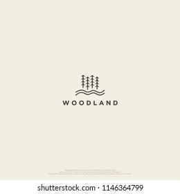 simple woodland logo, forest vector very elegant and minimalist.
