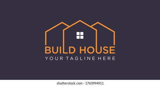 simple word mark build house logo design with line art style. home build abstract For Logo Design Inspiration.
