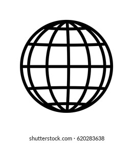 Simple world / globe vector icon logo. 3D Sphere. Wireframe.