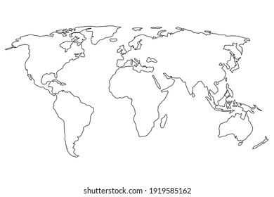Simple world map in line style. Vector sign on white background