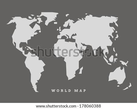 simple world map vector のベクター画像素材 ロイヤリティフリー