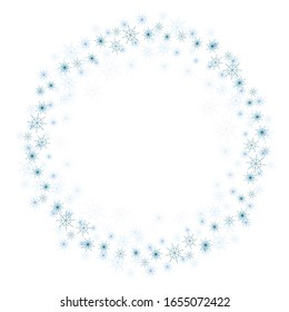 A simple wreath of snowflakes of different size isolated vector on a white background.