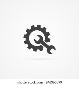 Simple wrench and gear icon, with shadow and white background.