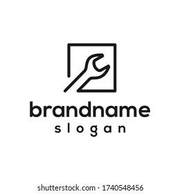 simple wrench logo design vector