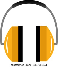 Simple, yellow construction headphones on white background. Perfect to use as an icon or logo.