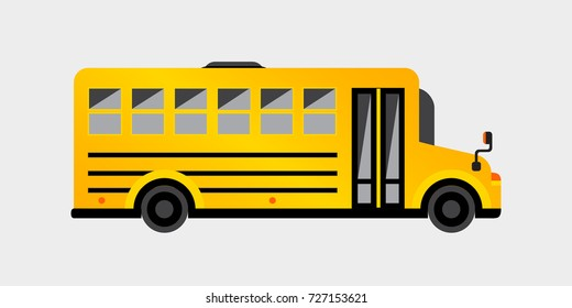 Simple yellow school bus. Vector illustration for your graphic design.