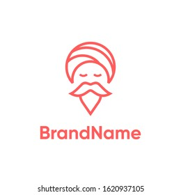 A simple yet modern and iconic logo design displaying a Guru in the line art style.