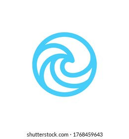 A simple yet sophisticated line art of wave logo design.