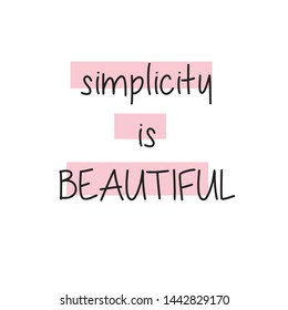 SIMPLICITY IS BEAUTIFUL QUOTE, SQUARE, T-SHIRT STAMP, VECTOR TYPOGRAPHY