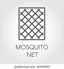 Simplicity icon in linear style of mosquito nets for windows. Concept of protection from insects. Vector Illustrator