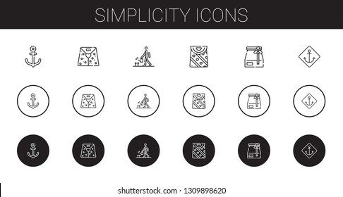 simplicity icons set. Collection of simplicity with anchor, paper bag, watering, bag. Editable and scalable simplicity icons.