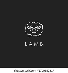 simplicity lamb logo,vector lamb lamb outline icon. Isolated lamb label