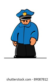 Simplies-series. Police-officer. Plain Illustrator 8.0 compatible .eps file.