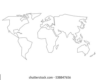 World map drawing images stock photos vectors shutterstock simplified black outline of world map divided to six continents simple flat vector illustration on gumiabroncs Gallery