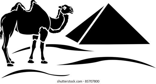 simplified camel in egyptian desert stencil