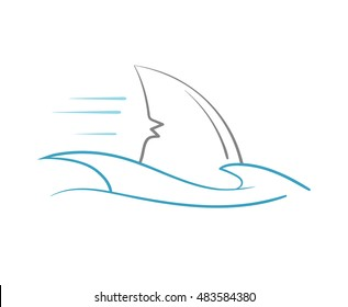 simplified colored representation of shark's fin among ocean waves, pinstriping stylized
