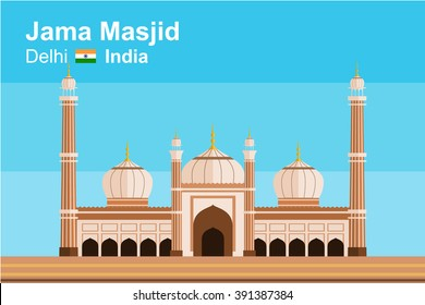 Simplified flat-styled vector of Jama Masjid, mosque of Delhi, India, as viewed from front.