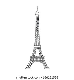 Simplified Illustration of Eiffel Tower symbol of Paris and France.