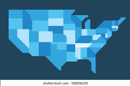 Simplified map of the American states. Only 0, 45 and 90 deg lines used. This simplification enables map to be used at very small sizes. Each state on its own named layer.