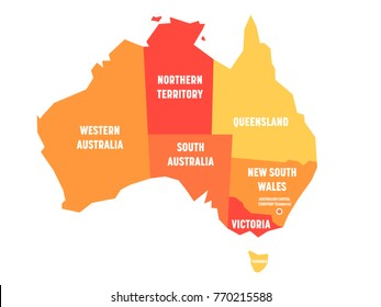 Simplified map of Australia divided into states and territories. Orange flat map with white labels. Vector illustration.