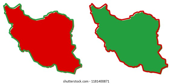 Simplified map of Iran (Persia) outline. Fill and stroke are national colours.