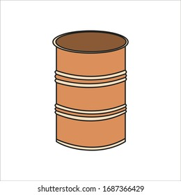 Simplified outline illustration of a metal barrel on a white background.