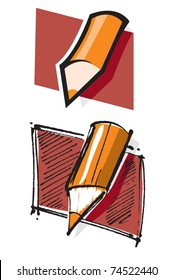 simplified pencil icon in two different styles
