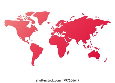 Simplified silhouette of World map in pink-red gradient. Vector illustration isolated on white background.