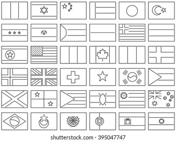 Simplified vector flags of the countries. Flag icons in newest line design style.