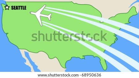 Simplified Vector Map Usa Airplane Inflight Stock Vector Royalty