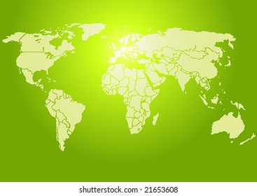 Simplified World map, brightly lit green. Each country is a separate shape. (Vector)