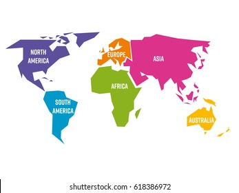 Simplified world map divided to six continents - South America, North America, Africa, Europe, Asia and Australia - in different colors, on white background and with white lables. Simple flat vector