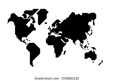 Simplified world map drawn with sharp straight lines
