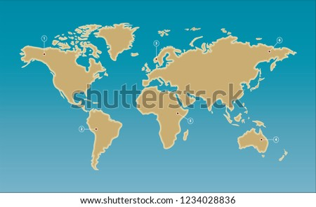 Simplified World Map Flat Design Label Stock Vector Royalty Free