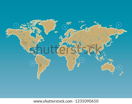 Simplified World Map Rivers Mountains Flat Stock Vector Royalty
