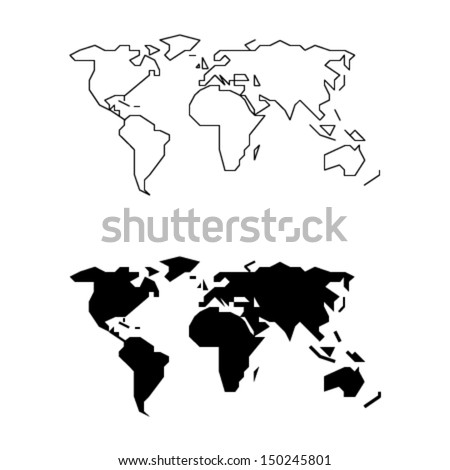 Simplified World Map Straight Lines Less Stock Vector (Royalty