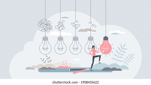 Simplify complex or difficult situations for clear idea tiny person concept. Easy solution to messy problems with right management and process vector illustration. Chaos project challenge success.